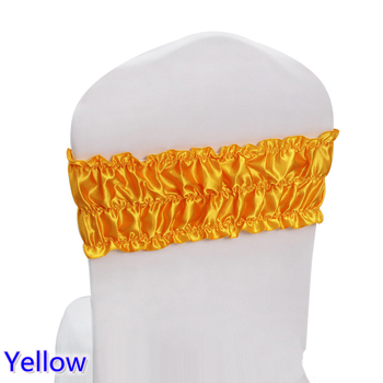 Yellow sash wedding chair sash pleated spandex sash for chair covers fit for all chairs for wedding,banquet,party decoration
