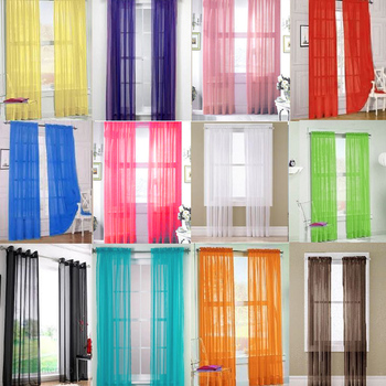 2 Pcs. Solid Pure Sheer Curtains Voile Window Modern Simple Living Room Bedroom Balcony Kitchen Curtains Tulle Custom Made