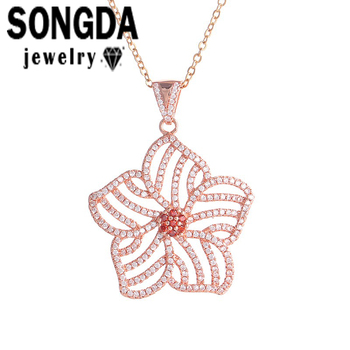 SONGDA 2017 Top Quality 3 Colors CZ Pendant Necklace Gold Hollow Zircon Flower Floating Charm For Wedding Women Choker WX001