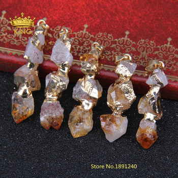5pcs/lot Plated Gold Wire Wrapped yellow Crystal Quartz Nugget Pendant Beads,Three Beads Long Point Pendant LF047