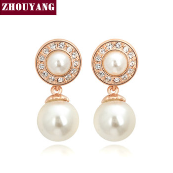 ZHOUYANG Top Quality Classic Crystal Imitation Pearl Rose Gold Color Earring Austrian Crystal Wholesale ZYE452 ZYE511